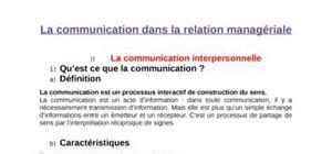 La communication dans la relation managériale