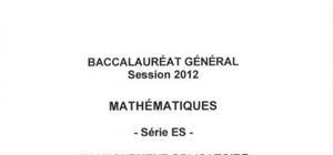 Sujet Bac ES Mathématiques Washington 2012