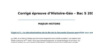 Corrigé Histoire-Géographie : Bac S 2012