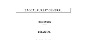 Sujet Espagnol LV1 Bac L 2012