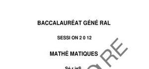 Sujet Mathématiques du Bac S 2012