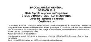 Sujet Sciences de l'ingénieur Bac S 2012