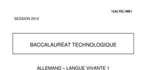 Sujet Allemand LV1 Bac STG 2012