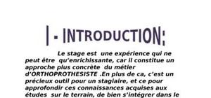 Rapport de stage orthoprothesiste