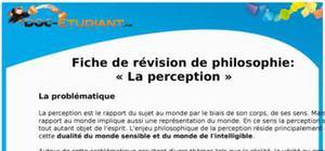 Fiche de révision et cours de philosophie : la perception