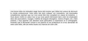 Lettre de Motivation Stage de 3ème