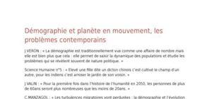 Démographie et planète en mouvement
