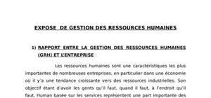 Expose  de gestion des ressources humaines
