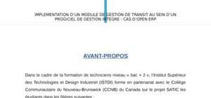 Rapport de stage académique module de gestion de transit sous open erp 6