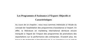 Les programmes d'assistance à l'export