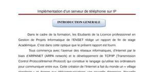 Implementation d'un serveur de telephonie sur ip