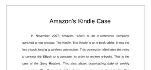 Amazon kindle case study (entrepreuneurship)