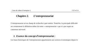 L'activité entrepreneuriale