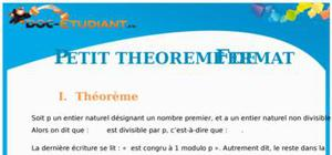 Petit théorème de Fermat : Cours Terminale S
