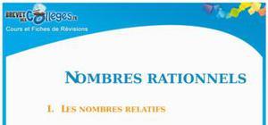 Les nombres rationnels : Fiche de révision Brevet