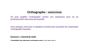 Orthographe : exercices