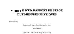 Rapport De Stage DUT Mesures Physiques