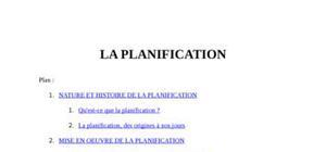 Définition planification