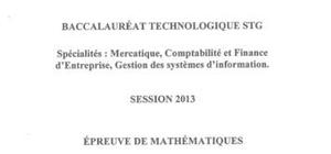 Sujet de Maths Pondichéry 2013 : Bac STG