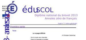 Sujet 0 Brevet Français 2013 : Exemple n° 2 (Générale)