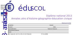 Sujet 0 Brevet Histoire - Géographie - Education civique 2013 (Série Générale)