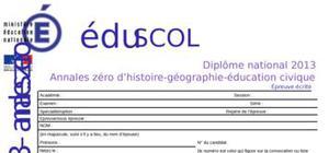 Sujet 0 Brevet Histoire - Géographie - Education civique 2013 (Série Professionnelle)