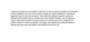 Lettre de motivation opticien