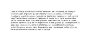 Lettre de motivation banque