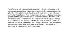 Lettre de motivation yves rocher