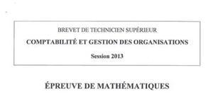 Sujet Mathématiques : BTS CGO 2013