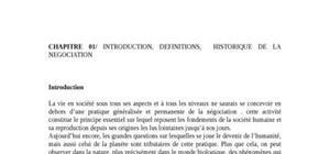 Introduction, definitions,  historique de la negociation