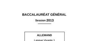 Sujet Allemand Bac ES 2013