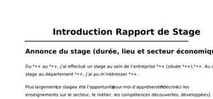 Introduction Rapport de Stage