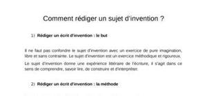 Comment rédiger un sujet d'invention ?
