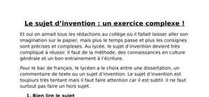 Le sujet d'invention: un exercice complexe