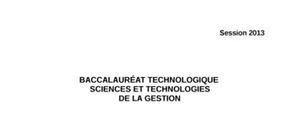Sujet Management (MDO) Bac STG 2013