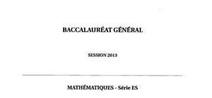 Sujet Maths Spécialité Bac ES 2013