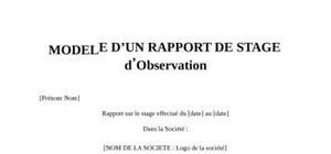 Rapport de Stage d'Observation