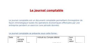 Le journal comptable: exemple