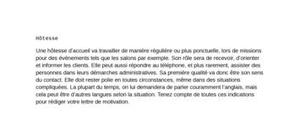 exemple lettre de motivation hotesse d'accueil evenementiel