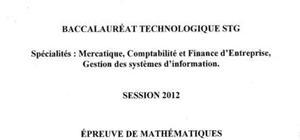 Sujet Bac STG Maths Pondichéry 2012