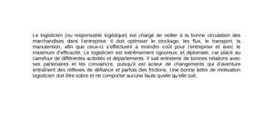 Lettre de Motivation Logisticien