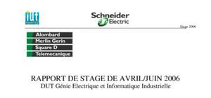 Rapport de stage schneider electric