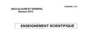 Sujet d'Enseignement Scientifique Bac ES 2012