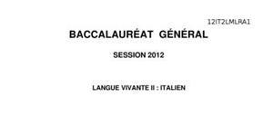 Sujet d'Italien LV2 Bac L 2012