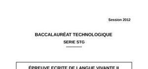 Sujet d'Espagnol LV2 Bac STG 2012