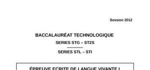 Sujet Espagnol LV1 Bac STG 2012