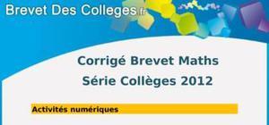 Corrigé Mathématiques Brevet 2012