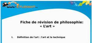 L'art : Cours de Philosophie et fiche de révision