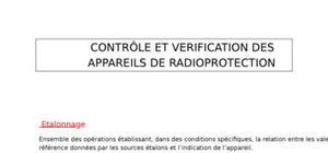 Contrôle des appareils de radioprotection